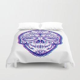 Sugar Skull (Calavera) Chromatic Aberration - Cyan Magenta Duvet Cover