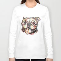 english bulldog Long Sleeve T-shirts featuring english bulldog line style - bulldog inglese - bulldog anglais - bulldog Inglés by ilgraficonet