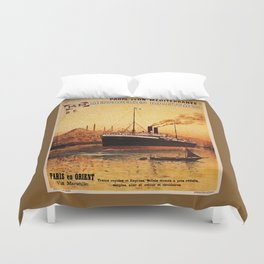 Vintage French Orient Shipping line Paris Mediterranean Duvet Cover