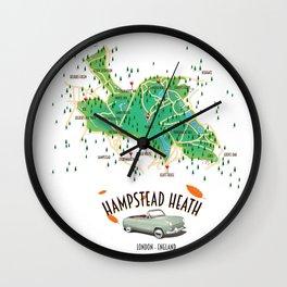 Hampstead Heath London England map. Wall Clock