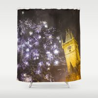 fireworks Shower Curtains featuring Fireworks 2 by Veronika