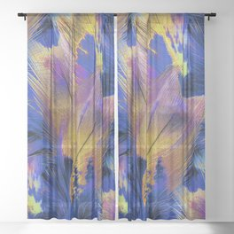 Pheasant Feathers Abstract Sheer Curtain