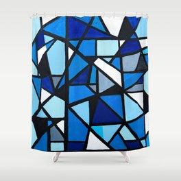 Blue Geometric Shower Curtain