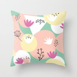 Pop of Color and Doodles Throw Pillow