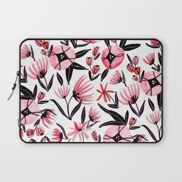 Black and Peach Flowers - Watercolor Pattern Laptop Sleeve