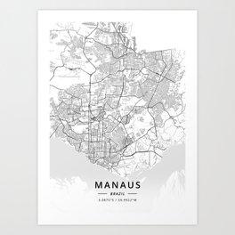 Manaus, Brazil - Light Map Art Print