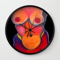 nudes Wall Clocks featuring Nudes: Venus by Adam James David Anderson