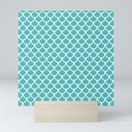 Scales (White & Teal Pattern) Mini Art Print