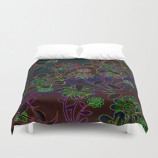 Neon Flower Art Duvet Cover