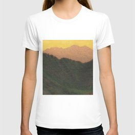 Golden Sunset Apennine Mountains Milan, Italy alpine landscape painting by Angelo Morbelli T-shirt