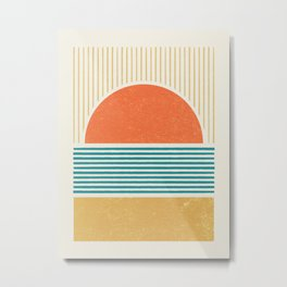 Sun Beach Stripes - Mid Century Modern Abstract Metal Print