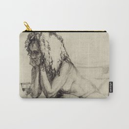 'The Unwinding' Charcoal Drawing Nude woman drinking Wine Carry-All Pouch