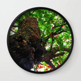 big tree with green leaves and red leaves Wall Clock