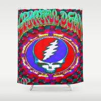 grateful dead Shower Curtains featuring Grateful Dead #10 Optical Illusion Psychedelic Design by CAP Artwork & Design