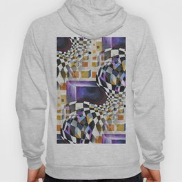 Modern Retro Abstract, 80s 90s Vintage Artwork, Chess Board Pattern Hoody