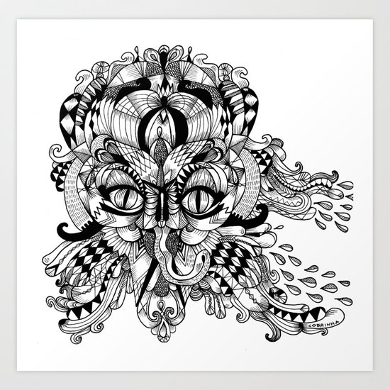 Mask Face Art Print