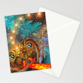 Golden dragon overcoming the icy space Stationery Cards