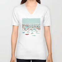 minimalist V-neck T-shirts featuring Sea Recollection by Efi Tolia