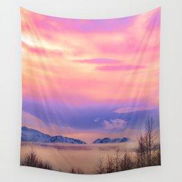 Alaskan Winter Fog Digital Painting Wall Tapestry