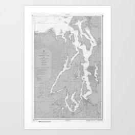 Puget Sound Washington State Nautical Chart Map Print 1956, Map Art Prints Art Print