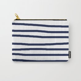 Simply Drawn Stripes in Nautical Navy Carry-All Pouch