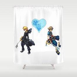 KH Sora/Roxas 8-Bit Shower Curtain