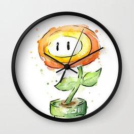 Fireflower Watercolor Painting Wall Clock