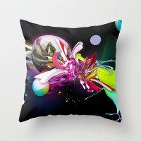 runner Throw Pillows featuring Splash Runner by Andre Villanueva