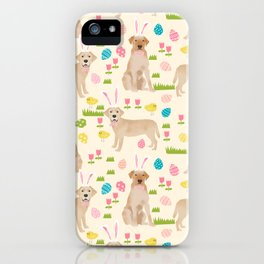 Yellow Lab labrador retriever dog breed pet art easter pattern costume spring iPhone Case