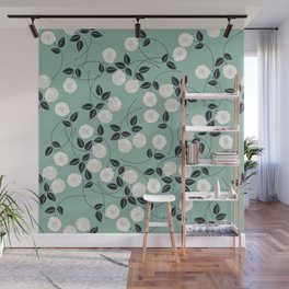 Pattern with white roses Wall Mural