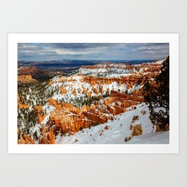 Snowy Day at Bryce Canyon - Snow Covered Landscape in Southwest Utah Art Print