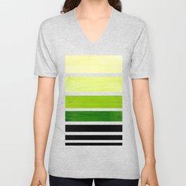 Sap Green Minimalist Mid Century Staggered Stripes Rothko Color Block Geometric Art Unisex V-Neck