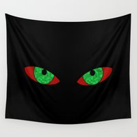 evil Wall Tapestries featuring Evil Eyes by Leatherwood Design
