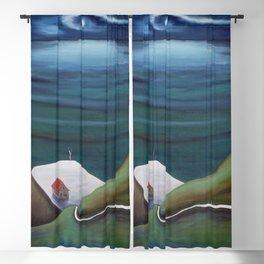 Cliff House - Hawaii landscape coastal seashore painting by Marguerite Blasingame Blackout Curtain