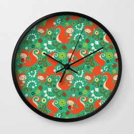 Nutty Squirrel Pattern Wall Clock