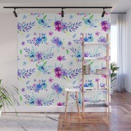 Watercolor Purple Floral Pattern Wall Mural