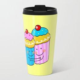 Blue and pink cherry cupcake besties  Travel Mug