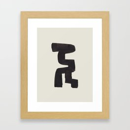 Black and White Minimalist Shapes Mid century Ink painting Framed Art Print