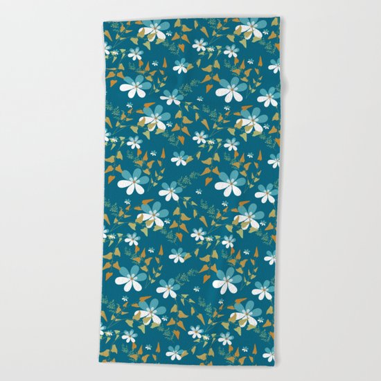 White flowers on a blue background . Beach Towel