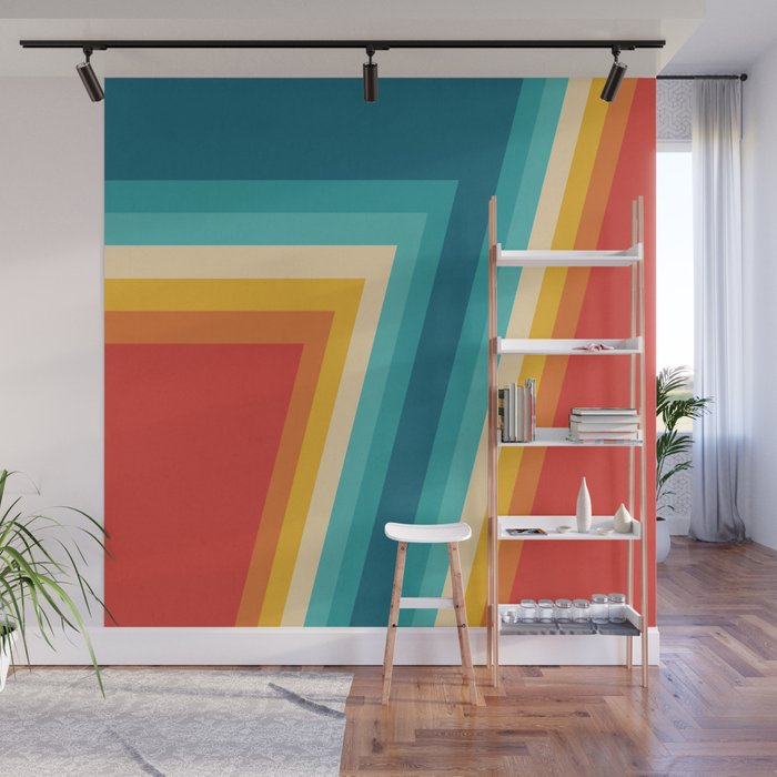 . Colorful Retro Stripes   70s  80s Abstract Design Wall Mural by pelaxy