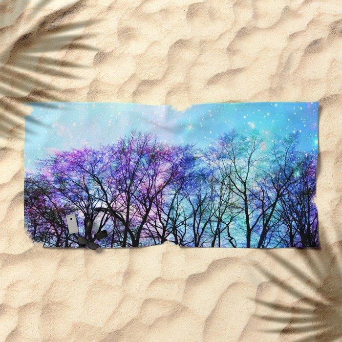 Black Trees Playful Pastels Space Beach Towel