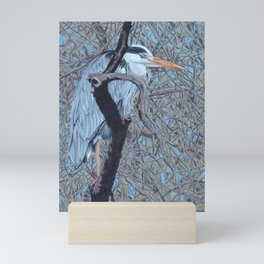 Grey Heron (Ardea Cinerea) Colored Pencils Artwork Mini Art Print
