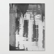 Venice canal in black and white Canvas Print