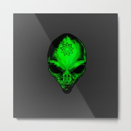 Super cool alien head with a Bahal symbol on forehead Metal Print