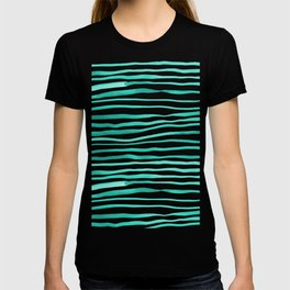 Irregular watercolor lines - turquoise T-shirt