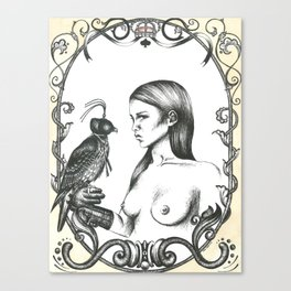 Girl With Falcon Canvas Print