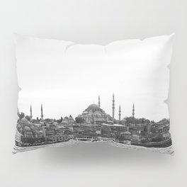 Turkish Landscape | Istanbul Turkey Landscape Photograph High Contrast Black and White City Skyline Pillow Sham