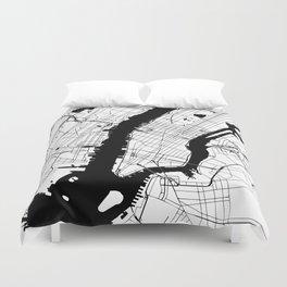 New York City White on Black Duvet Cover