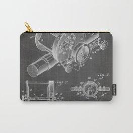 Fishing Reel Patent - Fishing Rod Art - Black Chalkboard Carry-All Pouch