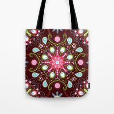 Pointillism mandala | Brown, red and green Tote Bag